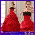 balón vestido sin mangas de atrás abierta 2014 tafetán de color rojo y negro vestidos de novia