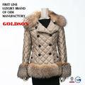 2015 canda top de la moda las mujeres de la marca hacia abajo con la chaqueta de piel de zorro