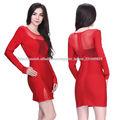 señoras maduras vestido de noche estilo más caliente vaina corta de manga larga de color rojo