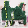 Venta al por mayor para hombre suave pijama/el animados kigurumi verde dinosaurio de disfraces para adultos