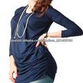 Manga larga por mayor moda de blusones señoras blusa suelta plisado