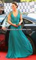 2013 Sexy Nuevo Barato cuello en V mangas casquillo de los vestidos de noche de Kate Middleton Jenny Packham Verde Vestidos de