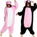 Venta al por mayor baratos para adultos negro& de cerdo rosa onesie kigurumi animal de vestuario