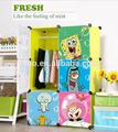 6 cubos de bebé de plástico armarios/gabinetes roperos para las pequeñas habitaciones con puerta de bob esponja( fh- al022- 6)