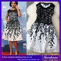 2014 nueva moda del bordado de encaje sin mangas baratos en blanco y negro vestido de cóctel vestido de fiesta