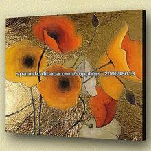 moderno pinturas de flores con goldleaf