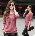 Verano para mujer 100% de algodón cuello redondo liso de color rojo tamaño grande camisas