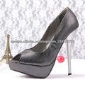 plata zapatos de tacón negro