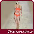 2014 anaranjado de moda de una sola pieza traje de baño del vendaje de la cruz