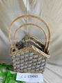 2 juegos al por mayor hecho a mano canasta de mimbre para artículos para el hogar de almacenamiento de sauce cesta con mango( fu
