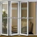 despersonalización de aluminio marco de vidrio bi plegable puerta con buena calidad y mejor precio