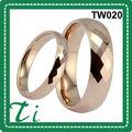 anillo de bodas plateado rosa anillo de tungsteno de la pareja de oro