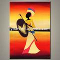 venta al por mayor colorido moderno las mujeres africanas bailarín pintura al óleo abstracta