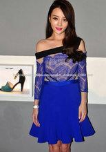Style No. T208 Volantes de encaje azul barato forma una linea de vestido de noche de pestañas