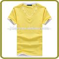 Llanura de color amarillo en blanco v- cuello cuello t- shirt