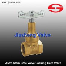 Astm cobre roscado vástago de la válvula de compuerta con cerradura 1.6 mpa