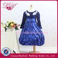 2014 fashional y hermoso azul marino flor azul vestidos de niña