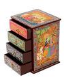 Caixa de madeira, indiano étnico Senhor Radha Krishna mão Caixa de madeira pintada