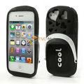 Pizu 3D lindo Zapatillas caramelo Olor de silicona Volver caso de la piel para el iPhone 4 4S - Negro