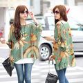 2014 nova moda estilo bohemian batwing manga impresso loose camisa de chiffon blusa e tops para as mulheres 19694