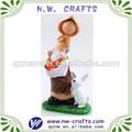 resina mujer con conejo decoraciones para el hogar