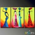 venta al por mayor decorativo moderno abstracto de mujeres africanas de la pared grupo de pintura de arte de gran