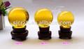 esfera de cristal de cristal sólido amarelo bola de vidro com suporte de madeira para mesa fengshui decoração