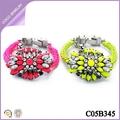 pulsera fucsia elegantes de moda de diamante de imitación con flores pulsera trenzada
