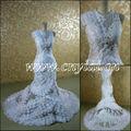 Jj3049 sirène, transparent vintage robes de mariée en dentelle col haut