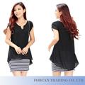 Diseño mujeres de gasa vestido de rayas negro Plus tamaño M-3XL adornados vestidos de verano de la señora escote BS06009