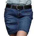 la mujer sexy de bordado de color azul de moda mini falda de mezclilla
