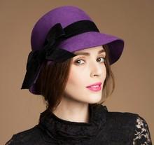 De calidad superior 100% sombrero de lana de moda mujer de lana de sombrero de fieltro