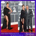 sexy 2014 jennifer lopez vestido de hendidura lateral negro de un hombro gasa manga larga vestidos de celebridades