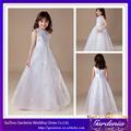 2014 nueva llegada de la longitud del piso un- línea sin mangas de organza blanca flor vestidos de niña de la boda para( zx112)