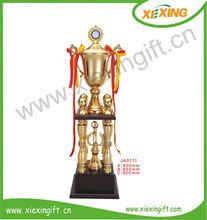 2014 la construcción personalizada forma taza de metal champing trofeo de voleibol