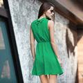 YIGELILA Las mujeres de moda alto cuello vestido verde esmeralda 6424