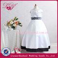 2014 fashional y hermoso vestidos de niña de las flores en blanco y negro
