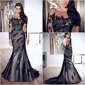 v- fermeture au dos avec faux boutons noir dentelle appliqued sur tulle sirène, élégante robe longue soirée manchon 2014