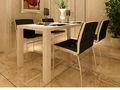 Venta caliente Blanco PU silla de comedor con patas cromadas