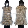 Yr-809 ladies' real perro mapache& piel de conejo punto chaleco/2014 chaleco/personalizado- hechos