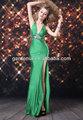 senhoras sexy vestido longo verde esmeralda fenda frontal strass longa noite vestido de baile