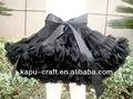 preto sólido com laço preto saia infantil