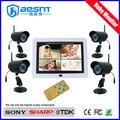 """Cámara inalámbrica 4 canales kit de cámara HD de la visión nocturna 6-10m 7 """"LCD monitor del bebé BS-W260A"""