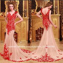 Hecho a mano de la muestra real más caliente v cuello de longitud apliques de organza vestido de noche vestido de las mujeres