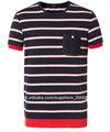 hombres 100% algodón rayas ocio camiseta
