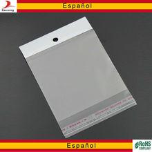 Transparente auto-adhesivo bolsas de polipropileno
