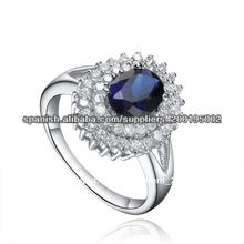 2014 Comercio al por mayor anillo de zafiro 925 plata