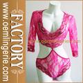 seductor encaje rosa de peluche de la ropa interior