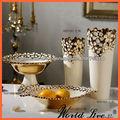 NHTC597-WG blanco y oro de cerámica jarrones decorativos de interior