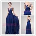 Inspirado Por murad de Zuhair Azules marinos tirantes una línea vestidos de noche largos con encaje floral TE 92130